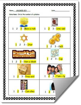 Hanukkah-Themed Syllable Count Worksheet (Chanukah)