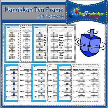 Hanukkah Ten Frame Math Worksheets by Knowledge Box Central | TpT