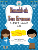 Hanukkah Ten Frames 3-Part Cards for 0-20