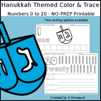 Hanukkah Themed Number Color and Trace