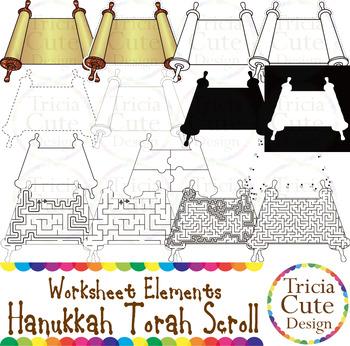 Hanukkah Torah Scroll Worksheet Elements Clip Art for Tracing Cutting Puzzle