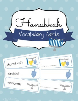 Hanukkah Vocabulary Cards and Spelling Practice