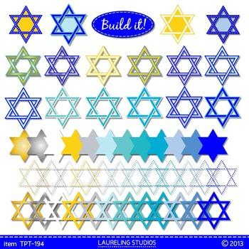 Hanukkah clip art frames - Star of David .png digital clip