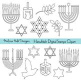 Hanukkah digital Stamps Clipart