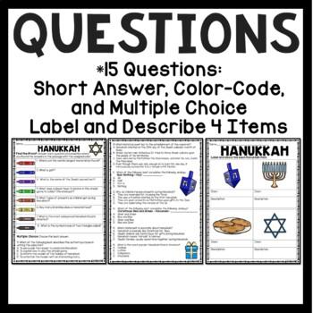 Hanukkah Reading Comprehension Worksheet, December, Menorah, Dreidel