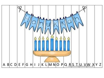 Hanukkah themed Alphabet Sequence Puzzle.  Preschool learning game.