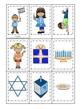 Hanukkah themed Memory Matching Cards.  Preschool learning game.