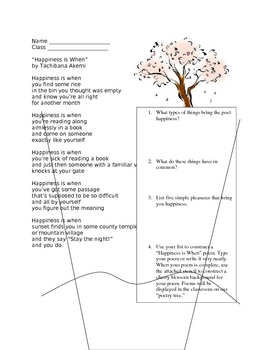 """""""Happiness"""" Asian Poetry Activity"""