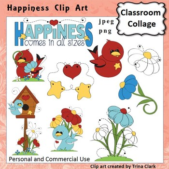 Bird Clip Art   Happiness  Color  personal & commercial use