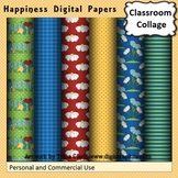 Happiness Summer Digital Papers Set Color  personal & commercial use