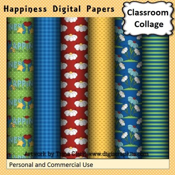 Happiness Summer Digital Papers Set Color  personal & comm