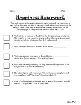 Happiness Homework Alternative
