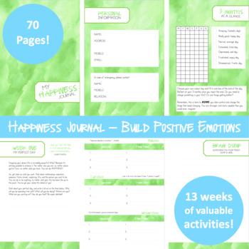 Happiness Journal - 13 weeks of lessons based on Positive Psychology!