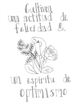 Happiness and Optimism Spanish Coloring Sheet