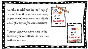 100th Day of School Tag