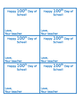 Happy 100th Day of School Treat Tag