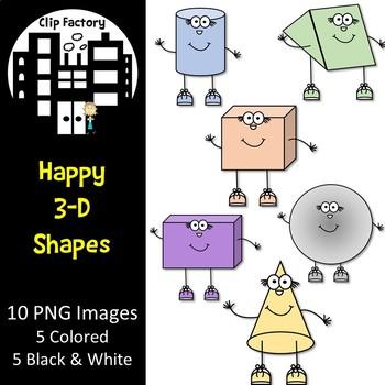 Happy 3D Shapes Clip Art