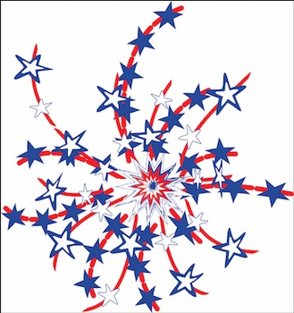 Happy 4th of July! Digital Sign & Fireworks Patriotic Clipart Embellishments