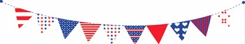 Happy 4th of July! Patriotic Bunting Banners Clipart - Digital Embellishments
