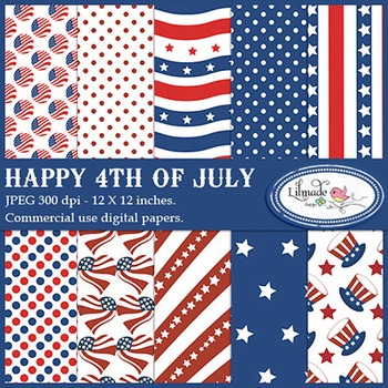 Happy 4th of July digital papers