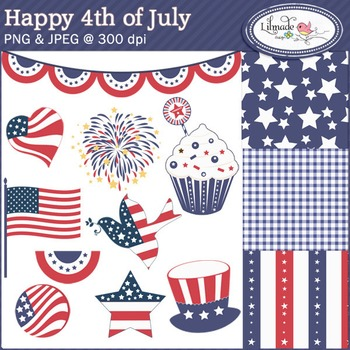 Happy 4th of July digital papers and clip arts
