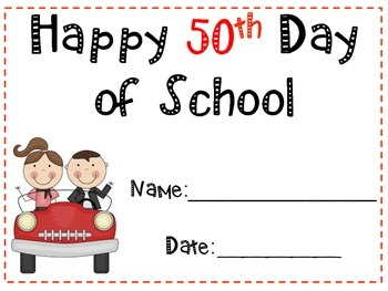 Happy 50th Day of School Certificate