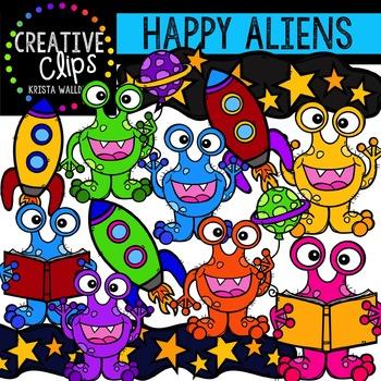 Happy Aliens {Creative Clips Digital Clipart}