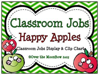 Happy Apples Chevron Classroom Jobs Display & Clip Chart
