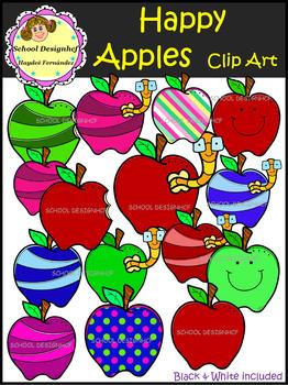 Happy Apples Clip Art (School Designhcf)