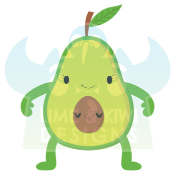 Happy Avocados Clipart, Instant Download Vector Art, Commercial Use Clip Art