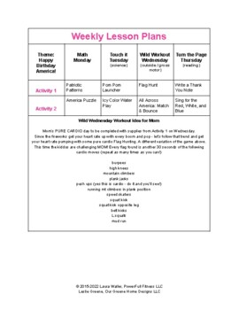 Happy BDay America - Weekly Lesson Plan for Preschool, Pre-K, Kindergarten