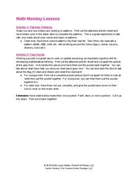 Happy BDay America - Weekly Lesson Plan for Preschool, Pre-K, Kindergarten