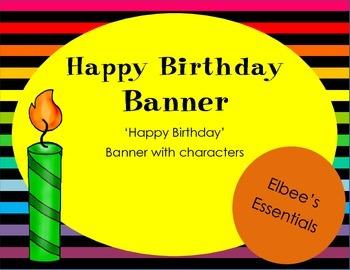 Happy Birthday Banner (black and rainbow)