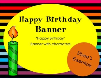 Happy Birthday Banner (black and rainbow)