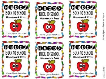 Happy Back to School Apple Homework Pass Tags *Editable*
