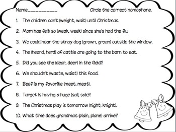 Happy Bells Homophone Match-Up