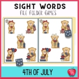 4th of July Sight Word File Folder Games