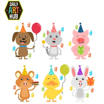 Happy Birthday Animals Cute Clip Art Puppy Kitty Piggy Mouse Chick Bunny