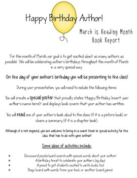 Happy Birthday Author: A March is Reading Month Book Report