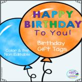 Happy Birthday Balloon Gift Tags