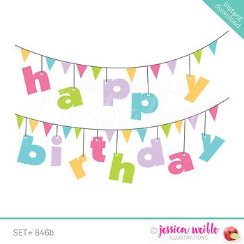 Happy Birthday Banner Clip Art- Pink