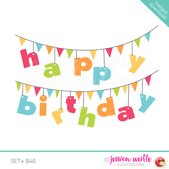 Happy Birthday Banner Clip Art Red By JW Illustrations TpT