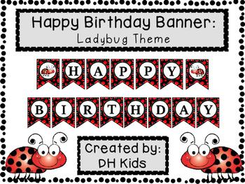 Happy Birthday Banner - Ladybug Theme