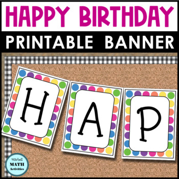 Happy Birthday Banner (Rainbow Dots)