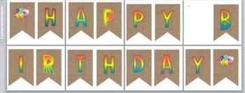 Happy Birthday Banner--rainbow letters on burlap