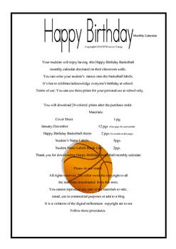Happy Birthday Basketball Monthly Calendar