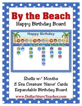 Happy Birthday Board / Chart coordinates with By the Beach Decor ~ Ocean  Island