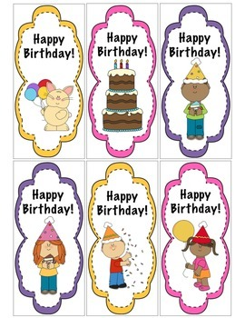 """""""Happy Birthday"""" Bookmarkers for Students"""