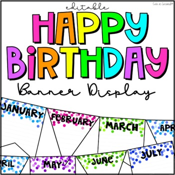 Birthday Chart Bulletin Board Banner Editable By Cute In Second