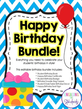 Happy Birthday Bundle - Complete Editable Kit for Celebrating Student Birthdays!